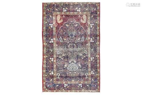 A FINE ANTIQUE KIRMAN LAVER PRAYER RUG, SOUTH PERSIA approx:7ft.1in. x 4ft.7in.(215cm. x 140cm.)