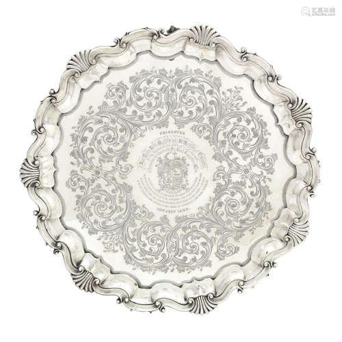 by Martin Hall & Co, London 1882  A large Victorian silver salver