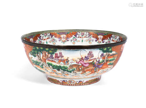 18th century A famille rose 'fox hunting' punch bowl