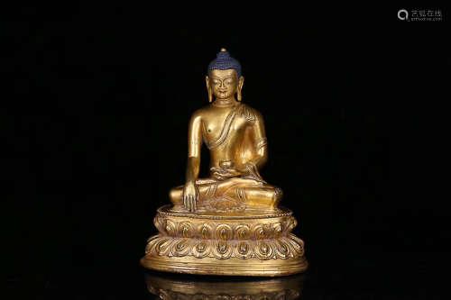 17-19TH CENTURY, A MEDICINE BUDDHA DESIGN OLD GILT BRONZE STATUE, QING DYNASTY