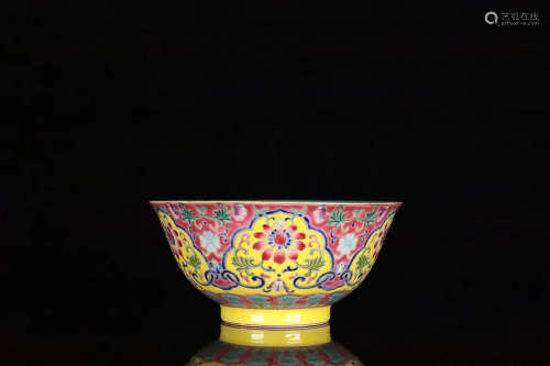 17-19TH CENTURY, A LOTUS PATTERN FAMILLE BOWL, QING DYNASTY
