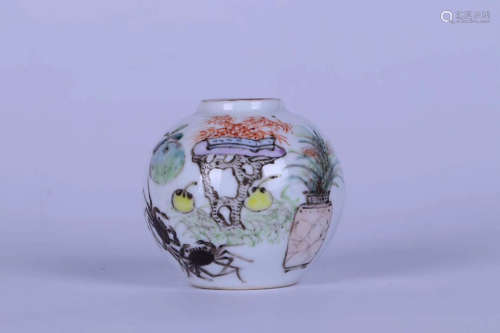 A OFFICIAL MAKING CRAB&FLORAL PATTERN FAMILLE WATER POT