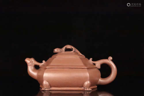 AN OLD YIXING AUSPICIOUS ANIMAL DESIGN HEXAGONAL TEAPOT