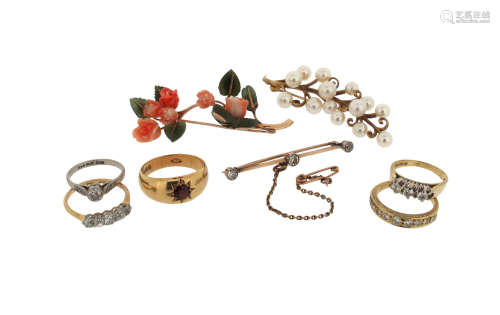 A diamond five-stone ring, size P, a diamond three-stone ring, size M, a diamond solitaire ring,