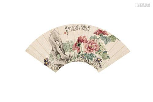 林剑星 花卉 扇片 设色纸本