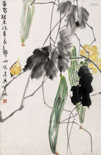 张继馨 花卉 立轴 设色纸本