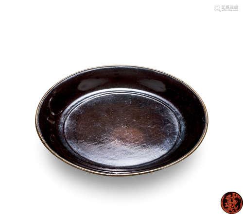 宋 黑漆包铜素面圆盘