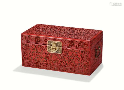 清乾隆 剔红缠枝宝相拐子龙纹书箱