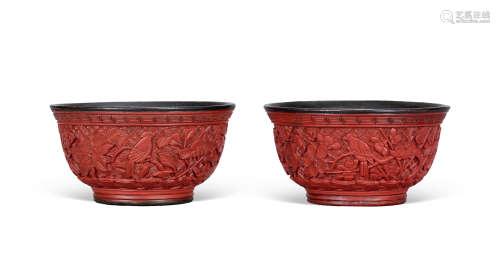 明 剔红镶银花鸟纹碗 (一对)