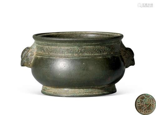 清 铜雕锦地花卉纹天鸡耳簋式炉