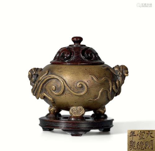清 铜雕螭龙纹如意足炉