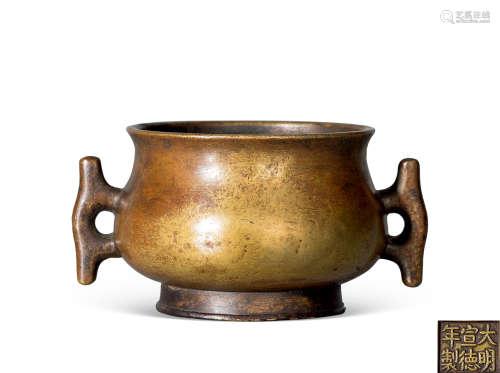 清 铜鱼耳簋式炉