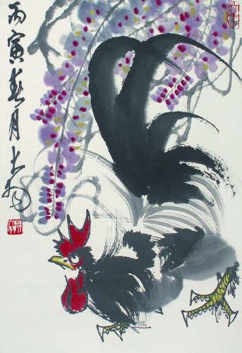 陈大羽 紫藤鸡 立轴 纸本
