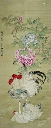 李鳝 公鸡(官上加官) 立轴 绢本