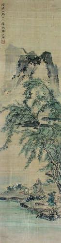 苏六朋 山水人物 立轴 绢本
