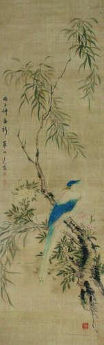 华嵒 花鸟 挂轴 绢本