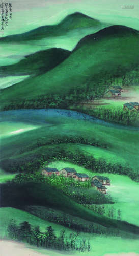 陈佩秋 青绿山水 立轴 纸本