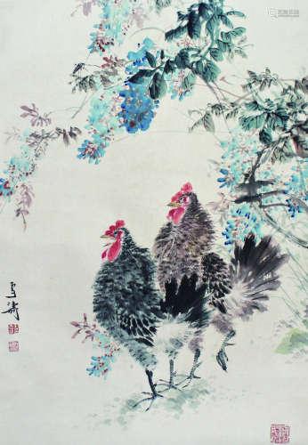 王雪涛 双鸡图 立轴 纸本