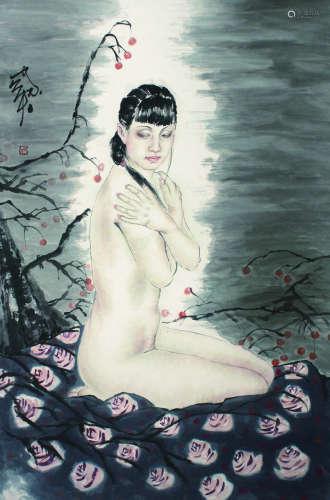 何家英 裸女图 立轴 纸本