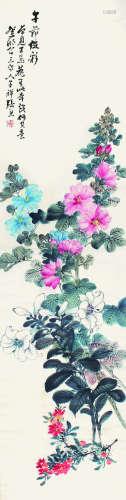 张熊 花卉图 立轴 纸本