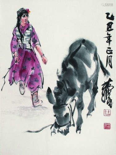 黄胄 人物和驴 立轴 纸本