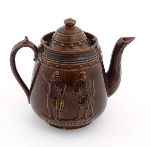 Military Interest: A large bargeware / measham teapot commemorating the rising of volunteer