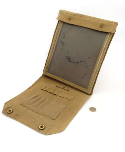Militaria : A WWII / World War 2 British webbing map pouch , the inner with provision for tools ,