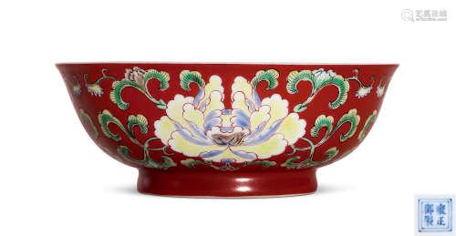 清雍正 珊瑚红洋彩牡丹纹碗