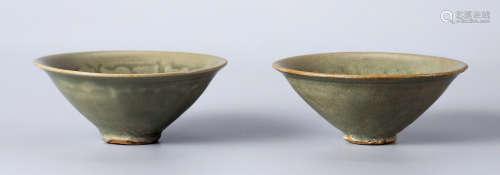 明 耀州印牡丹纹小盏 (一对)