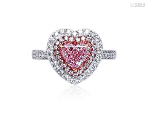1.02克拉 天然淡彩棕粉色钻石配钻石戒指