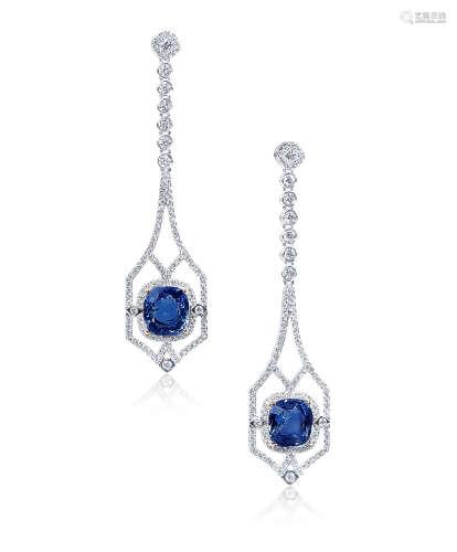 总重3.21克拉 天然斯里兰卡矢车菊蓝蓝宝石配钻石耳环 未经加热