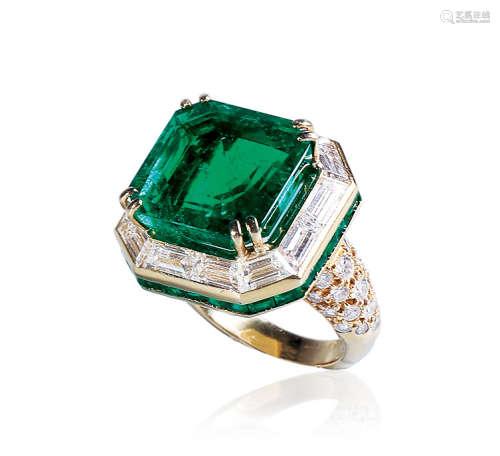 11.73克拉 天然哥伦比亚木佐绿祖母绿配祖母绿及钻石戒指
