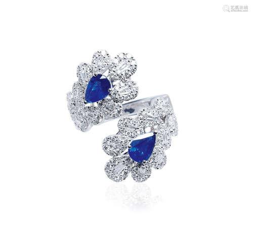 总重1.48克拉 天然蓝宝石配钻石戒指
