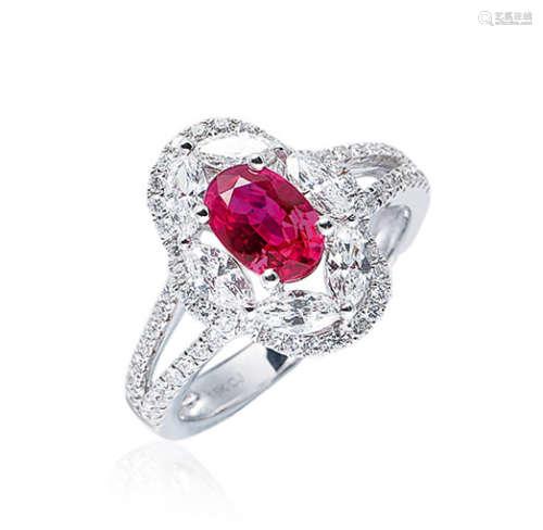 1.34克拉 天然缅甸红宝石配钻石戒指 未经加热
