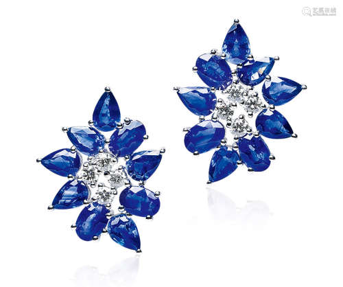 总重8.82克拉 天然蓝宝石配钻石耳环