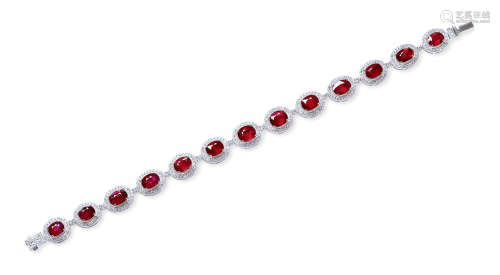 总重13.50克拉 天然莫桑比克鸽血红红宝石配钻石手链 未经加热
