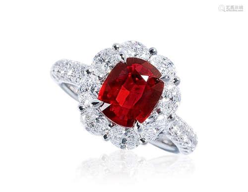 3.02克拉 天然莫桑比克红宝石配钻石戒指 未经加热