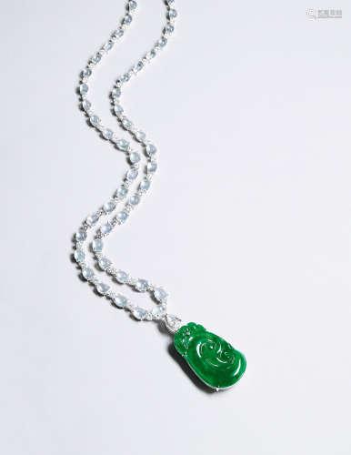 天然满绿翡翠如意配冰种翡翠及钻石吊坠项链