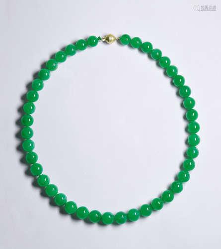 天然满绿翡翠珠链