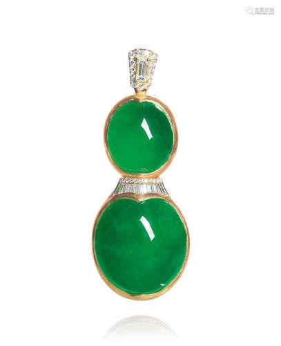 天然满绿翡翠蛋面配钻石吊坠