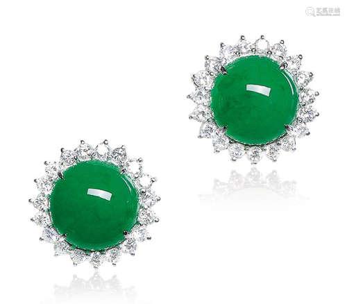 天然满绿翡翠蛋面配钻石耳环