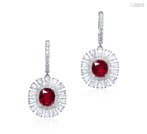 总重4.07克拉 天然莫桑比克红宝石配钻石耳环 未经加热