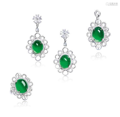 天然满绿翡翠蛋面配钻石吊坠、耳环及戒指套装