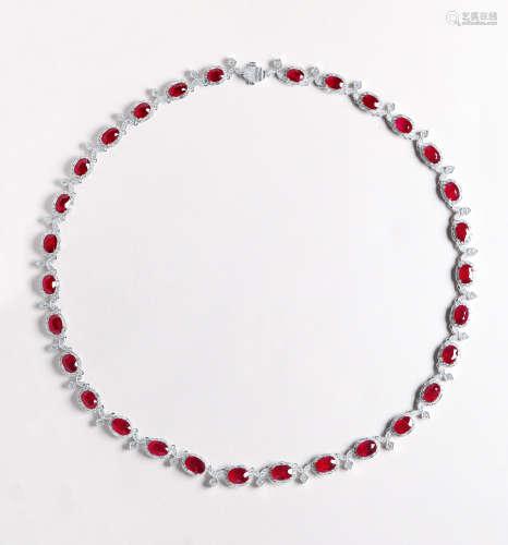 总重34.09克拉 天然莫桑比克红宝石配钻石项链 未经加热
