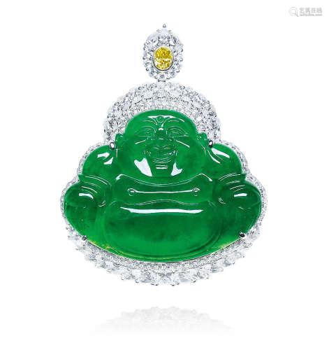 天然满绿翡翠弥勒佛配钻石吊坠