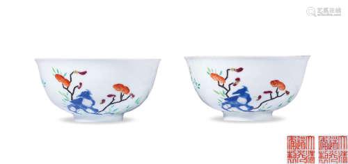 清道光 粉彩灵仙祝寿纹碗 (一对)