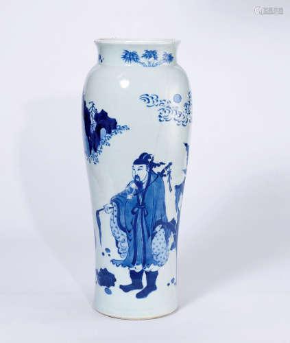 """明崇祯 青花""""张天师捉妖""""图筒瓶"""
