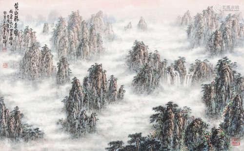 李硕卿(1908-1993) 黄山胜景图 立轴 设色纸本