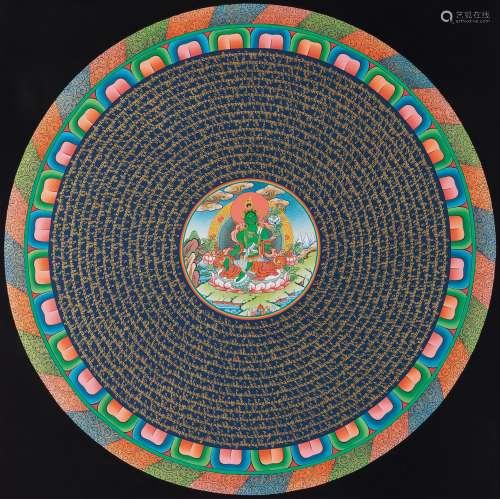 金藏卓杰 绿度母坛城 布面天然混合材料