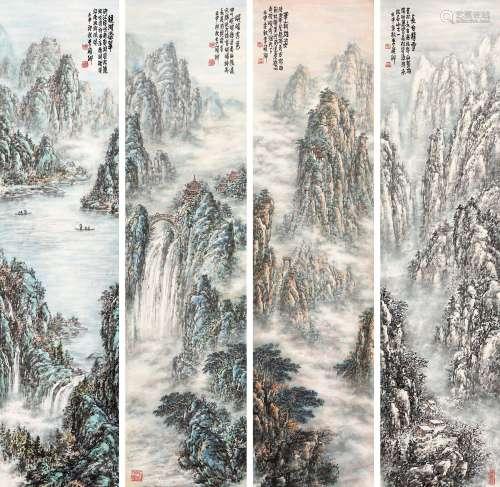 李硕卿(1908-1993) 湖山秋色四条屏 立轴 设色纸本